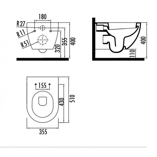 Λεκάνη πορσελάνη CREAVIT κρεμαστή FREE λευκή (χωρίς κάλυμμα) FE320
