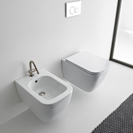 Λεκάνη πορσελάνη SCARABEO TEOREMA clean flush κρεμαστή με κάλυμμα βακελίτη slim soft close