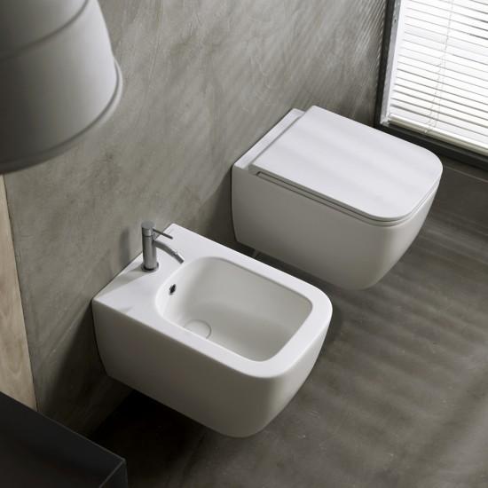 Λεκάνη πορσελάνη SCARABEO TEOREMA λευκό ματ clean flush κρεμαστή με κάλυμμα βακελίτη slim
