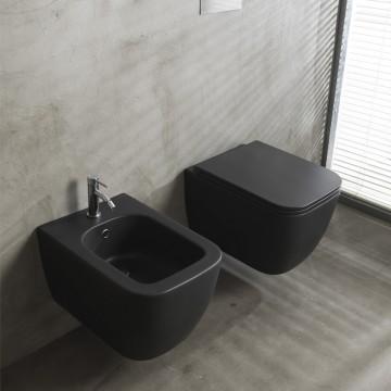 Λεκάνη πορσελάνη SCARABEO TEOREMA μαύρο ματ clean flush κρεμαστή με κάλυμμα βακελίτη slim