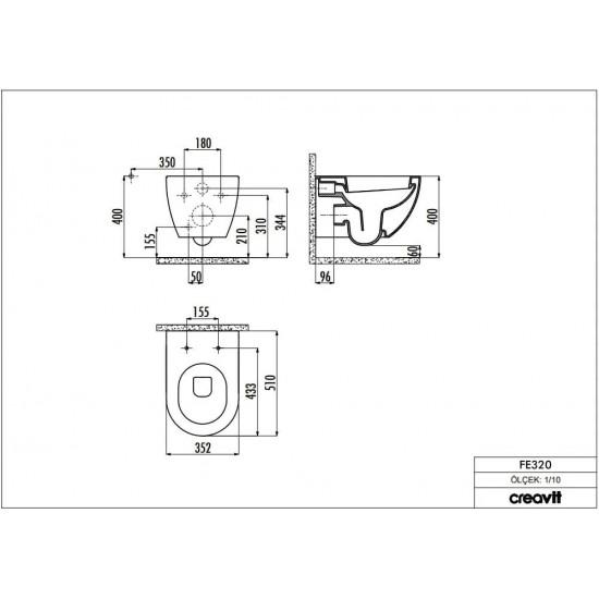 Λεκάνη πορσελάνη CREAVIT κρεμαστή FREE ανθρακί (χωρίς κάλυμμα) FE320.6000