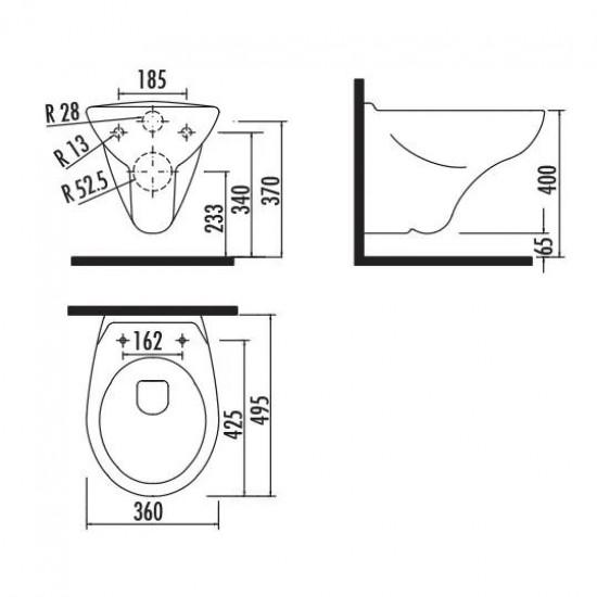 Λεκάνη πορσελάνη CREAVIT κρεμαστή APOLLO λευκή (χωρίς κάλυμμα) TP320