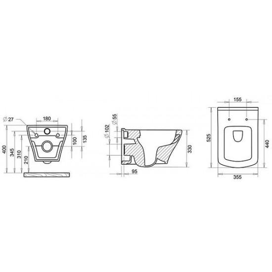 Λεκάνη πορσελάνη CREAVIT FRESH RIM OFF κρεμαστή λευκή (χωρίς κάλυμμα)
