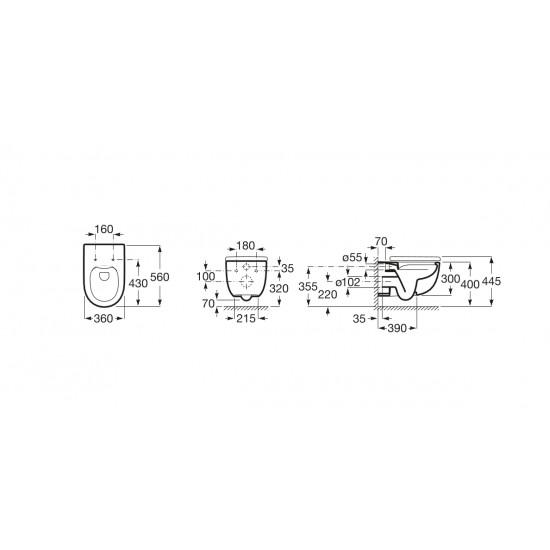Λεκάνη πορσελάνη ROCA MERIDIAN NEW RIMLESS κρεμαστή με κάλυμμα slim soft closing