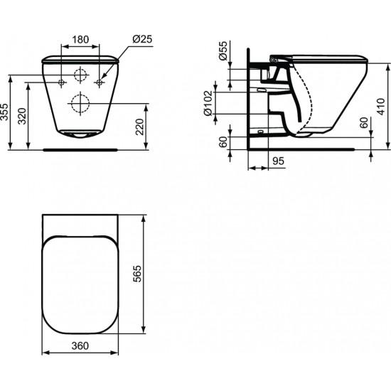 Λεκάνη πορσελάνη IDEAL STANDARD TONIC II AQUABLADE κρεμαστή με κάλυμμα slim soft closing