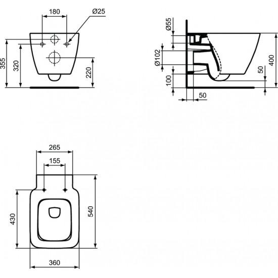Λεκάνη πορσελάνη IDEAL STANDARD STRADA II AQUABLADE κρεμαστή με κάλυμμα slim soft closing