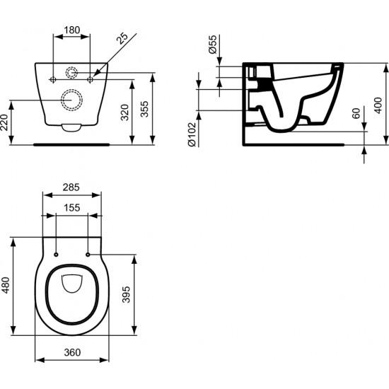 Λεκάνη πορσελάνη IDEAL STANDAD CONNECT SPACE κρεμαστή με κάλυμμα soft closing