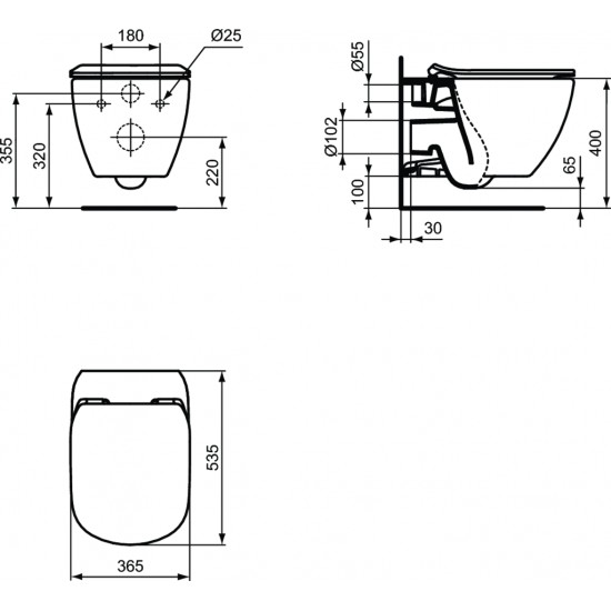 Λεκάνη πορσελάνη IDEAL STANDARD TESI II AQUABLADE κρεμαστή με κάλυμμα slim soft closing