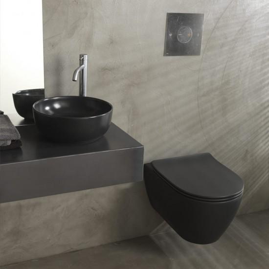 Λεκάνη πορσελάνη SCARABEO MOON μαύρο ματ clean flush κρεμαστή με κάλυμμα βακελίτη slim