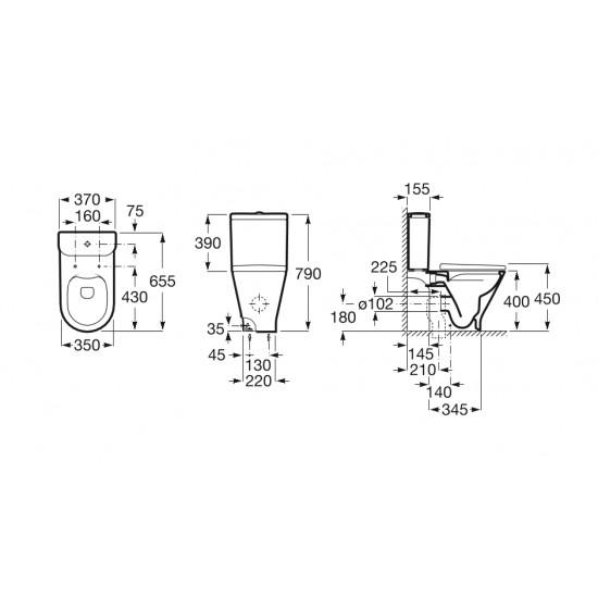 Λεκάνη δαπέδου ROCA GAP ROUND RIMLESS 65cm σετ με καζανάκι και κάλυμμα soft closing